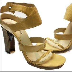 CoSTUME NATIONAL Yellow patent strappy wood heel